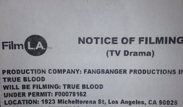 True Blood Filming Permit